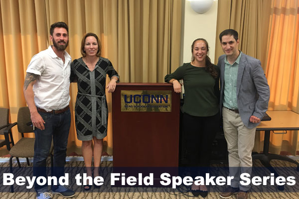 Charlie Macaulay, Jennifer McGarry, Sofia Read and Eli Wolf from fall 2017 Beyond the Field speaker series