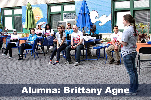 Brittany Agne manages volunteers in NYC