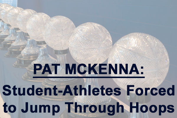 Basketball trophies lined up in connection with Pat McKenna story on student athletes