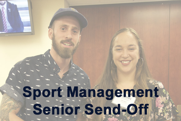 Graduating seniors in the Sport Management Program participated in a special ceremony to recognize and celebrate their graduation. The event wsa held in Gentry 144 on April 26, 2017. Pictured: Charlie Macaulay, Sofia Read