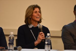 Sport Management professor and advisor, Dr. Laura Burton, speaks at a panel at the Sport Business Conference on Jan. 28.