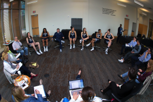 UConn Women's Basketball team participates in a round table discussion at the NCAA Final Four Tournament.