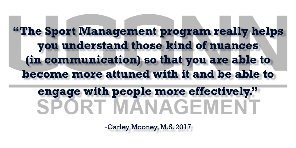 Sports Management Alumna Carley Mooney offers professional advice testimonial