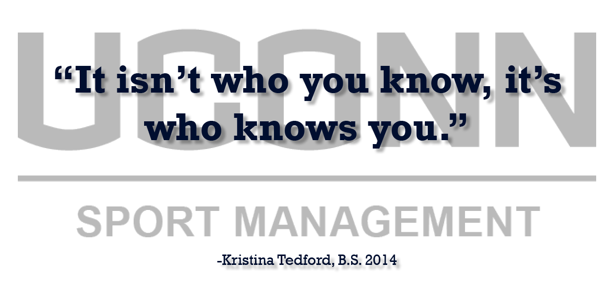 Sports Management Alumna Kristina Tedford offers professional advice testimonial