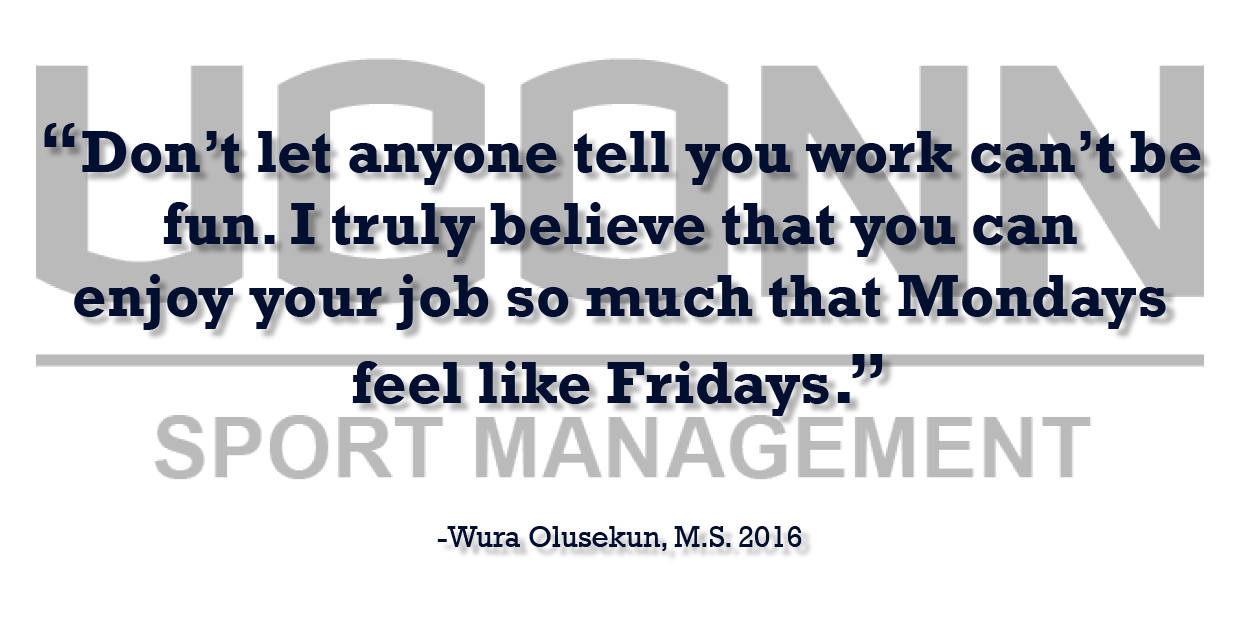 Sports Management Alumna Wura Olusekun offers professional advice testimonial