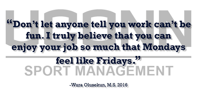 Sports Management Alumna Wura Olusekun offers professional advice testimonial