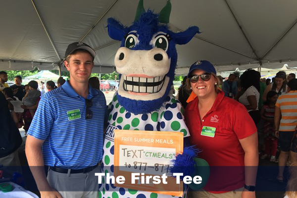 Sport management students during a summer internship at the first tee