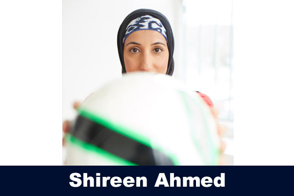Shireen Ahmed with a soccer ball