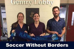 Sofia Read and Charlie Macaulay with Soccer without Borders guest speaker
