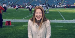 Maggie McEvilly on the field at Gillette Stadium during the New England Patriots pre-season opener.