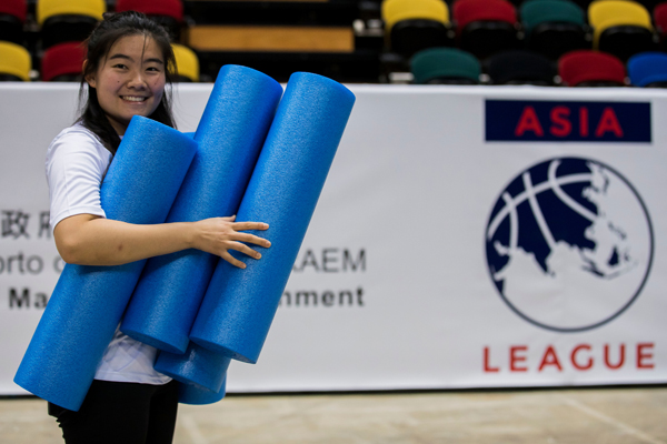 Ivy Kim during her summer internship in Hong Kong with the Asia Basketball League