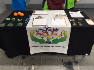 Table set up at Naugatuck Youth Services event