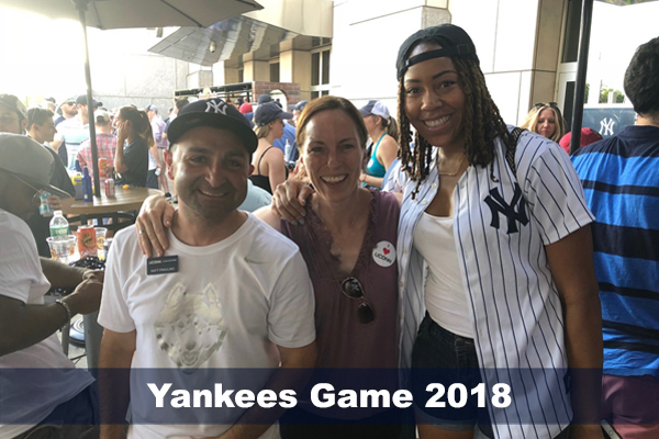 Matt Fraulino, Jennie McGarry and Brittany Hunter at NY Yankees game, summer 2018
