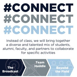 Text reads: #Connect Instead of class, we will bring together a diverse and talented mix of students, alumni, faculty, and partners to collaborate for specific activities: The Broadcast, Team Huddle, Beyond the Field